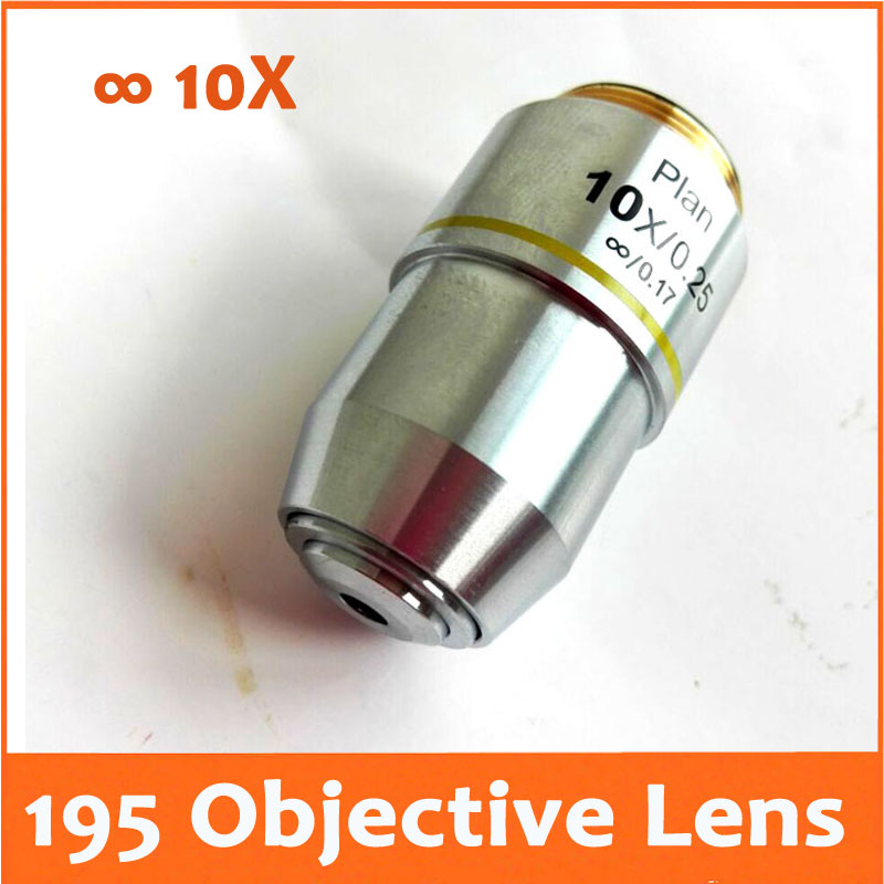 цены 10X L=195 Infinity Plan Achromatic Objective Lens for Educational Lab Medical Bio-Microscope Biological Microscope 20.2mm