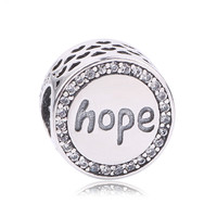 Aliexpress Hot Sale 100 925 Sterling Silver Hope Charm Beads Fit Original Pandora Bracelet Bangle Authentic