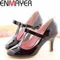 ENMAYER Big Size Casual Patent Leather Mid Heel T-Strap High Heel Shoes Women's Pumps 3 Colors Wholesale Black