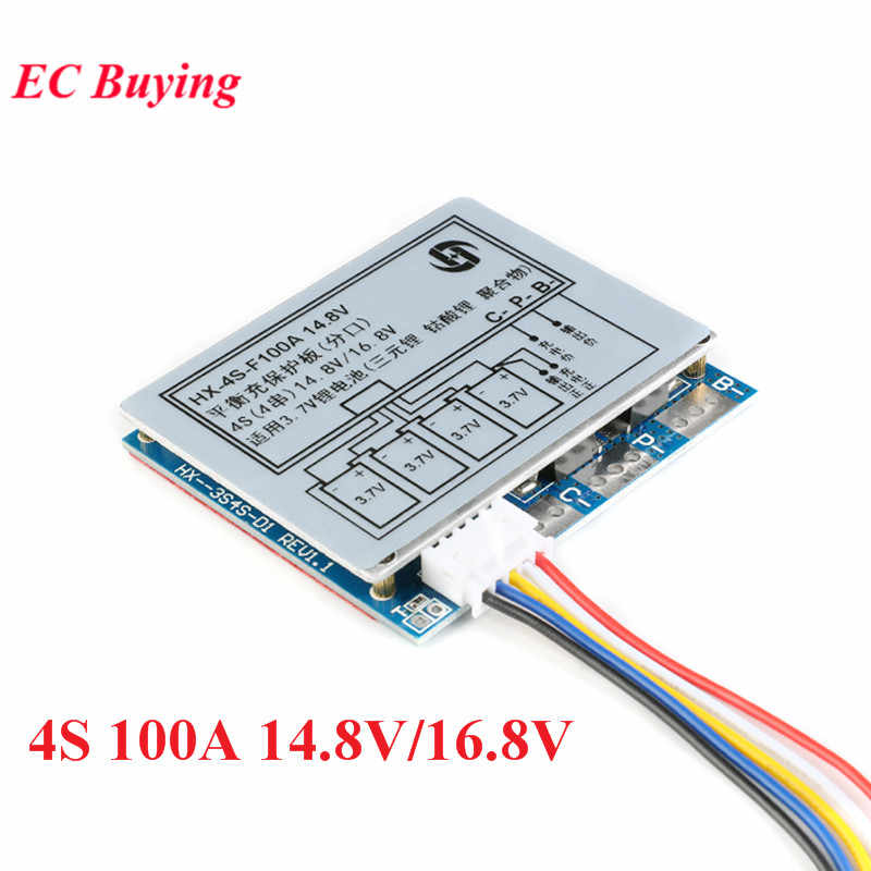 4S 100A 14.8V/16.8V Li-ion Lithium 18650 Battery BMS PCM Protection Board with Overcharge and Over Discharge Protection