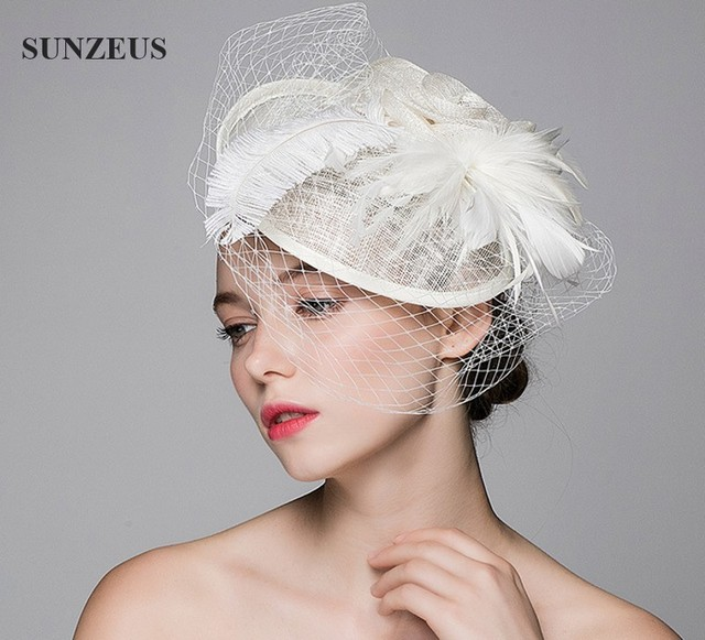 Beautiful Wedding Hat Veils Linen Tulle Adult Bride Hats With Ostrich Feather Flor Tocado Boda SQ005