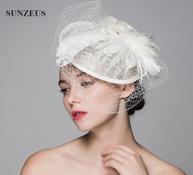 Chapéu bonito Do Casamento Veils Linho Tule Adulto Chapéus de Noiva Com Pena de Avestruz Flor Tocado Boda SQ005