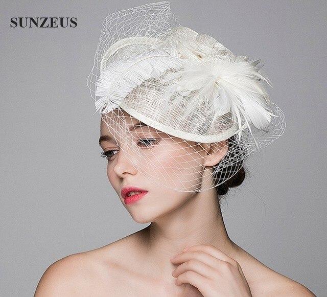 Hermosa Boda sombrero velo de tul adultos novia sombreros con plumas de  avestruz Flor Tocado Boda 815fb9f9d07