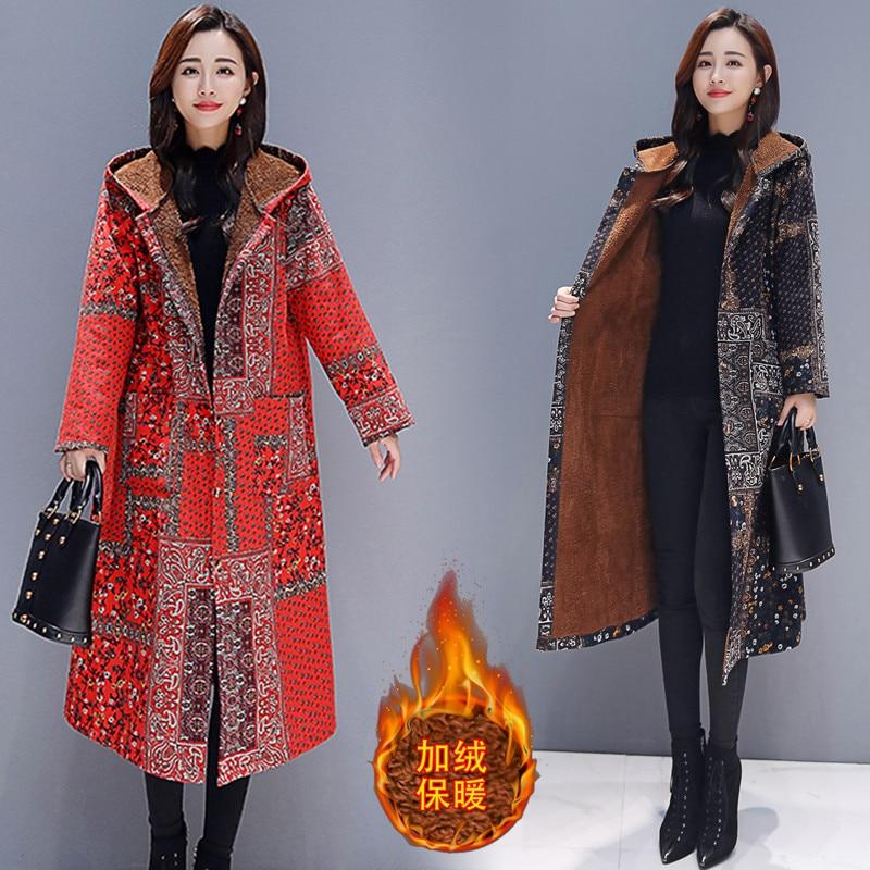 2019 National style plus velvet thick cotton Windbreaker Jacket Women Autumn Winter retro Long Plus Size Hooded   Parkas   Coat X252