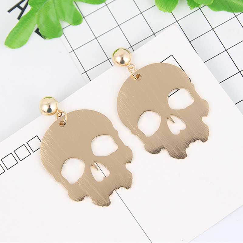 New Fashion Metal Alloy Skull Head Human Face Mouth Drop Dangle Earrings for Women Girl Charm