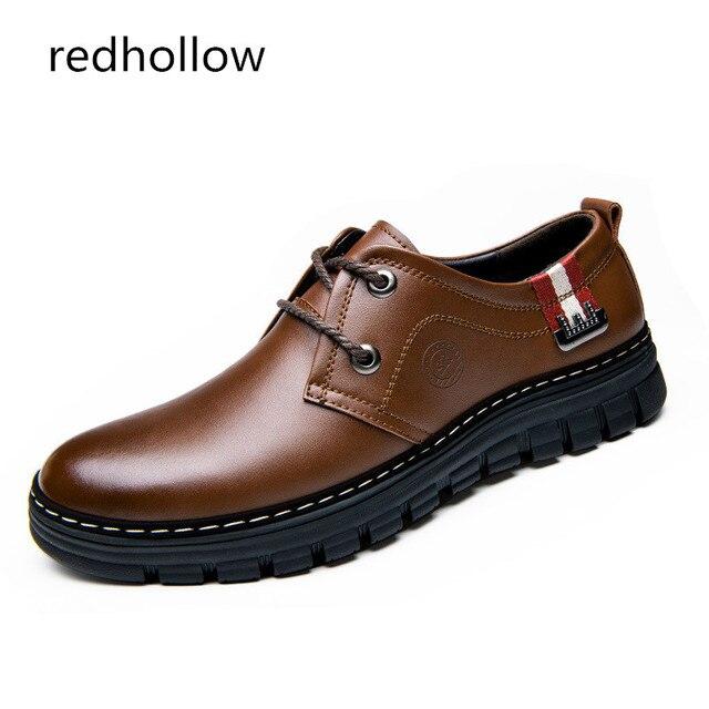 c13174821f Zapatos Casual hombres de cuero genuino primavera otoño Lace-up zapatos  para hombre moda zapatos