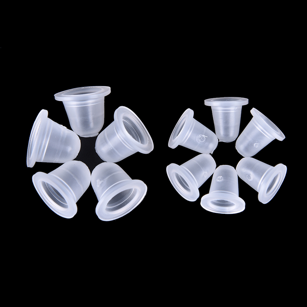 Size S L 100Pcs Silicone Tattoo Ink Cup For Permanent Tattoo Makeup Eyebrow Makeup Pigment Container Cups Disposable Accessor