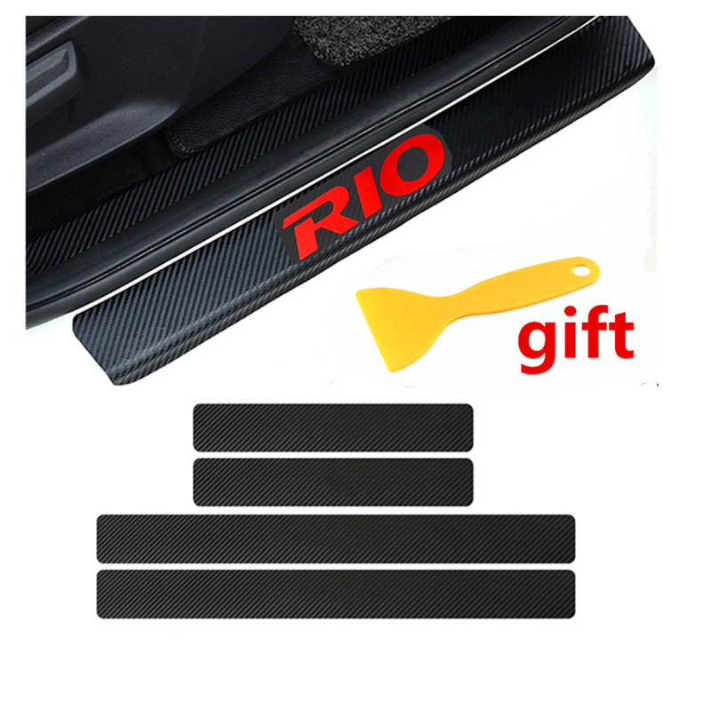 Decoration Scuff Plate Door Sill Carbon Fibre Sticker Car Accessories For KIA RIO K2 Sedan Hatchback 2010 To 2014 2015 2016 2017