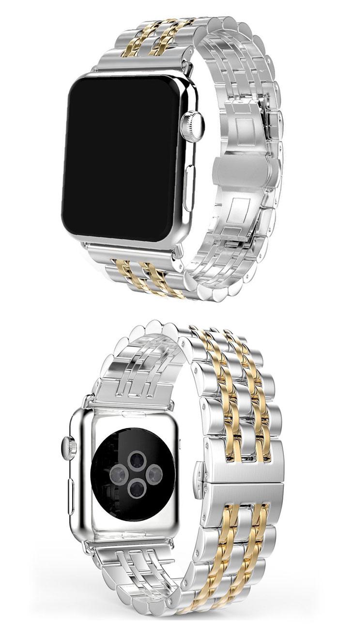 Bracelet en acier inoxydable pour bracelet de montre apple 44mm 40mm 42mm 38mm iwatch pulseira 5/4/3/2/1 accessoires de bracelet à boucle papillon