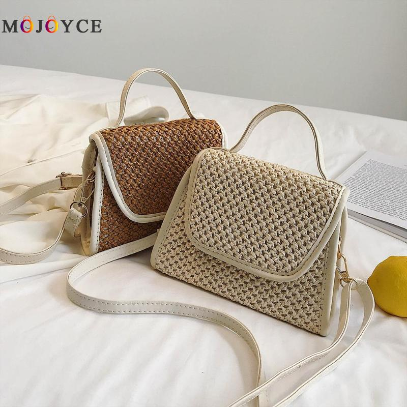 Simple Straw Messenger Bag Summer Beach Handbags Fashion Small Flap Weaving Crossbody Bags For Women
