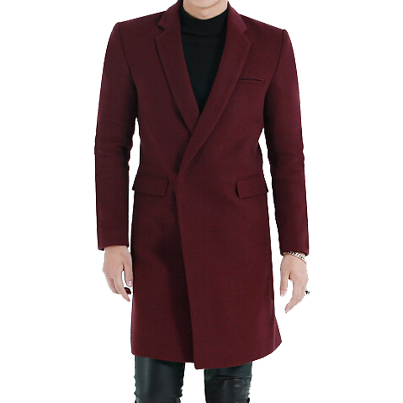 High Quality Long Section Wool Coat Male New Spring Autumn Outerwear Europe Simple Hidden Placket Long
