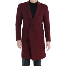 High Quality Long Section Wool Coat Male New Spring Autumn Outerwear Europe Simple Hidden Placket Long Sleeves Wool Jacket