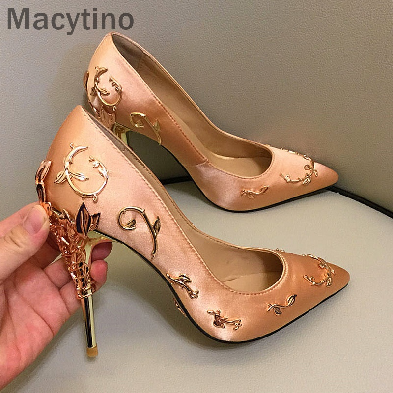 Macytino Fashion Wedding Party Shoes Woman Gold White Red Pointed Toe Pumps Metal Decoration Leaves Silk Thin High Heels Shoes