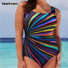 2018 Plus Size One Piece Swimsuit Women Striped Bikini Swimwear Retro Halter Vintage Bathing Suit Push Up Paplūdimio kombinezonas 5XL