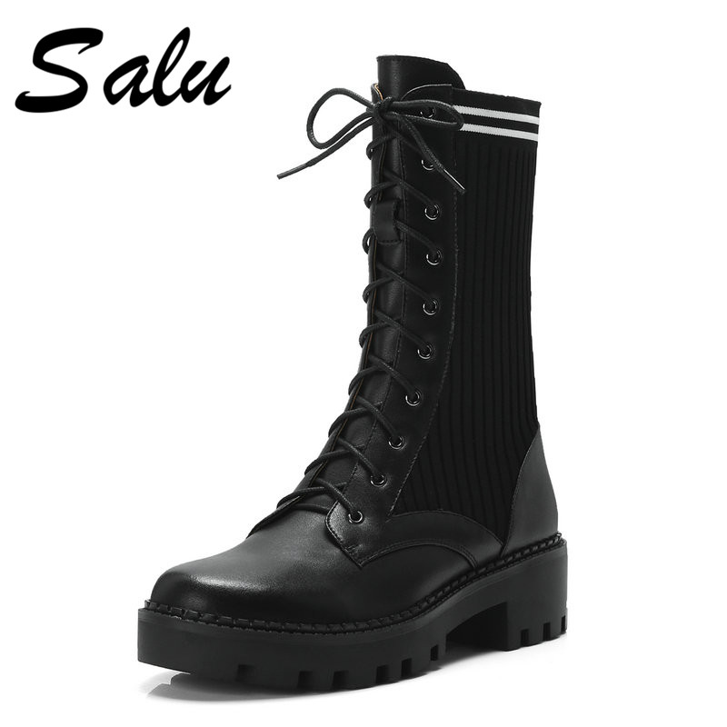 Salu women Boots Genuine Leather Boots Handmade Black Fashion Autumn Boots With Short Plush Women ShoesSalu women Boots Genuine Leather Boots Handmade Black Fashion Autumn Boots With Short Plush Women Shoes