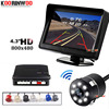 Koorinwoo System wideo samochodowe bezprzewodowy ekran lCD 800*480 czujnik parkowania samochodu 4 radary Buzzer tylna kamera samochodowa Backup Parktronic