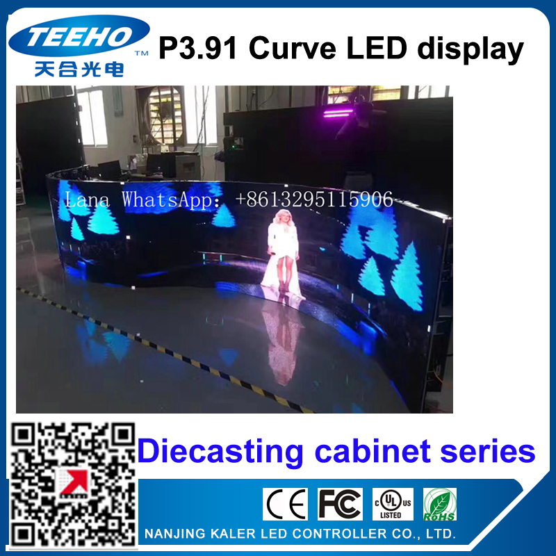 TEEHO NEW P3.91 indoor curve led display ED Display DieCasting Cabinet panel led video rental advertising wedding hotel stadium ...