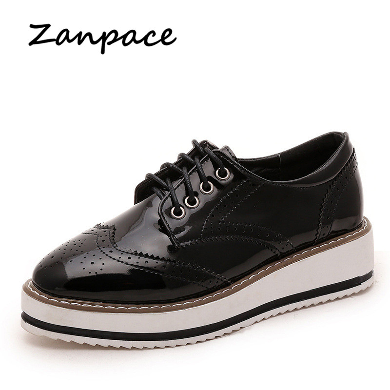 ZANPACE New Leather Flat Spring Women's Shoes British Style Lace-up Flat Platform Shoes Woman Female Loafer Ladies Oxfords