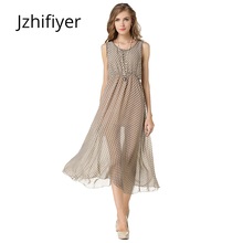 women dress fashion sleeveless mujer vestidos feminine chiffon maxi summer dots printed one piece