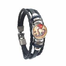 Interchangeable Zodiac Signs Men Bracelets Bangles Alloy Buckles Fashion Vintage Punk Leather Bracelets for Women Charm Gift