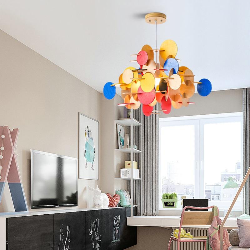Creative DIY Colorful Kids Child Pendant Light 110V 220V Nordic LED Nature Wooden Hanging Lamp Nursery School Bedroom Decor