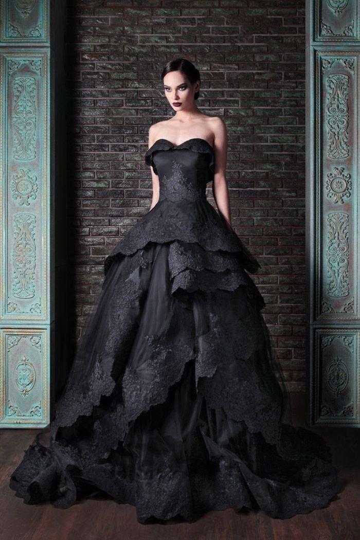 Новый Готический Стиль Милая Черное Кружево Бальное платье Свадебное Платье 2015 Люкс платья На Заказ Размер 2 4 6 8 10 12 14 16 18 + + W546