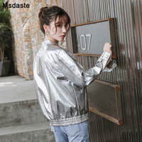 Woman PU Leather Jacket Silver 2019 New Fashion Autumn Glossy Women Jackets Coats Loose Outerwear Tops Female Hip Hop Jacket Top