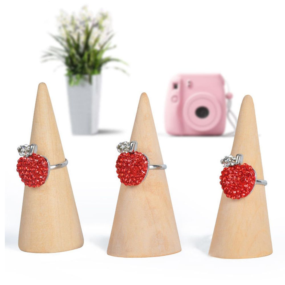 1 Pcs Jewelry Display  Organizer Finger Ring Wood Stand Holder Organize Storage Showcase Cone Shape Ring Display