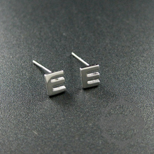 5x6mm Letter E Initial Alphabet Solid 925 Sterling Silver Earrings Studs 1702094 China