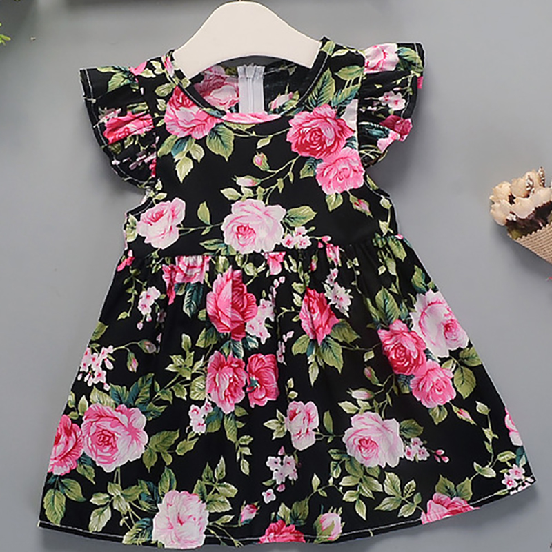Girls Dress 2019 Summer New Girl Flower Pattern Dress Baby Cotton Floral Princess Dress(China)