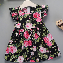 Girls Dress 2019 Summer New Girl Flower Pattern Dress Baby C