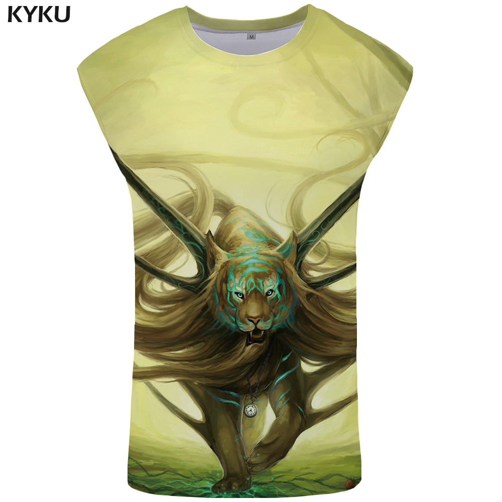 KYKU Tiger   Tank     Top   Men Flame Bodybuilding Animal Vest 3d Print Singlet Stringer Undershirt Sleeveless Shirt Cool Mens Clothing