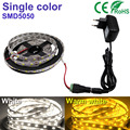 5M 300 led strip White/Warm white LED Strip light String Ribbon 5050SMD Tape More Bright +2A power For indoor home Decorative
