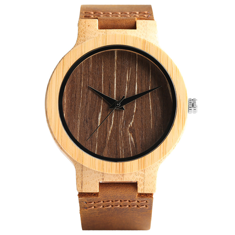 All-match Bamboo Watch Natural Trees Stripes Face Simple Men Women Wood Wristwatch Creative Handmade Wood Clock Unique Xmas Gift