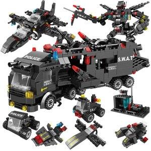 Image 5 - Şehir Polis Karakolu Araba Polis Robot Yapı Taşları Tuğla Eğitim Oyuncaklar Çocuklar için Uyumlu SWAT Askeri