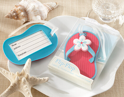 Free shipping 100pcs/lot Flip flop luggage tag beach style wedding favor bridal shower gifts