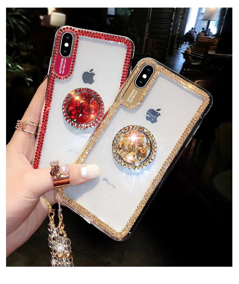 HTB1TighMNnaK1RjSZFtq6zC2VXai Luxury Bling Glitter With Finger Ring Case For iPhone X 8 7 6 6S Plus XR XS 11 Pro Max Cover Fashion Diamond Soft TPU Phone Case