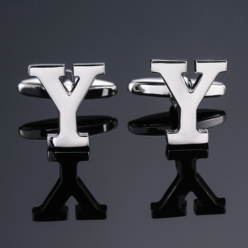 DY new High grade brand Brass material Silver letter Y Cufflinks Mens French shirt Cufflinks free shipping