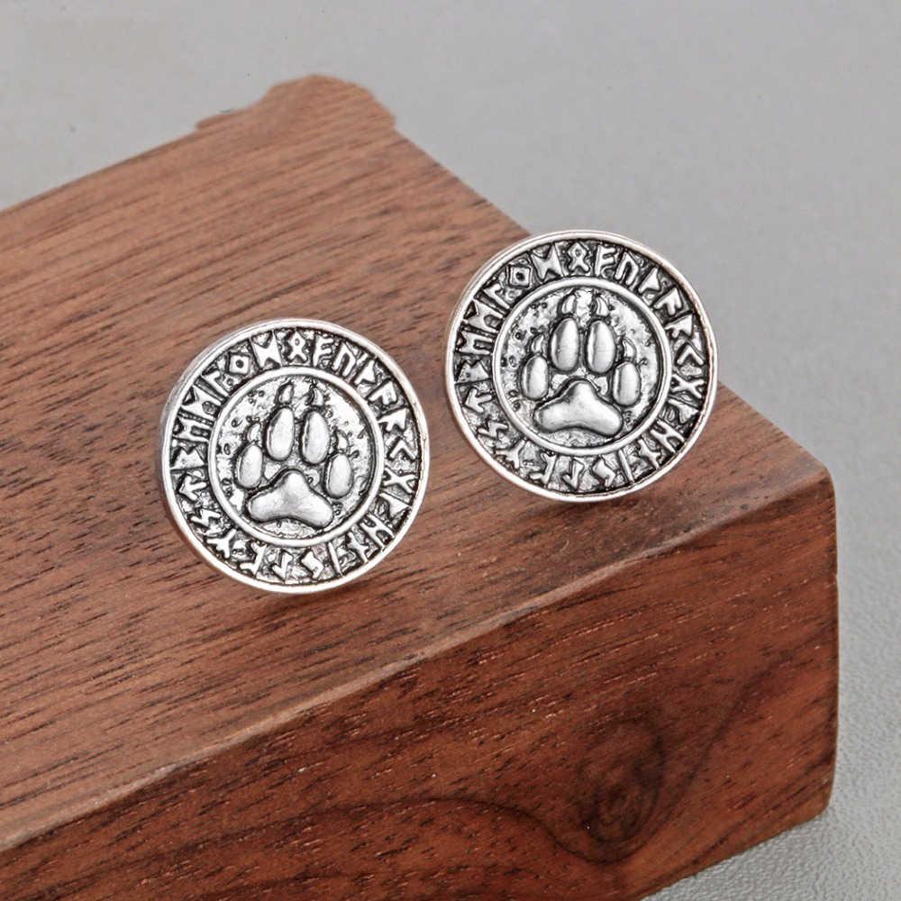 Chandler Wolf Egypt Tree Of Life Bear Paw Earring Men Viking Celti Knot Axe Pagan Stud Earrings Gothic Punk Amulet Bronics
