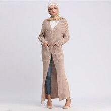 Arab Women Winter Abaya Muslim Knitted Sweater Carftan With Scarf