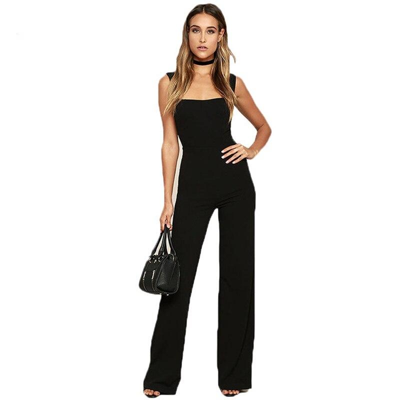 ZADORIN 2018 Summer Elegant Black Jumpsuit Women Square Neck Bodycon Bodysuit Long Flare Pants One Piece Party Rompers Overalls