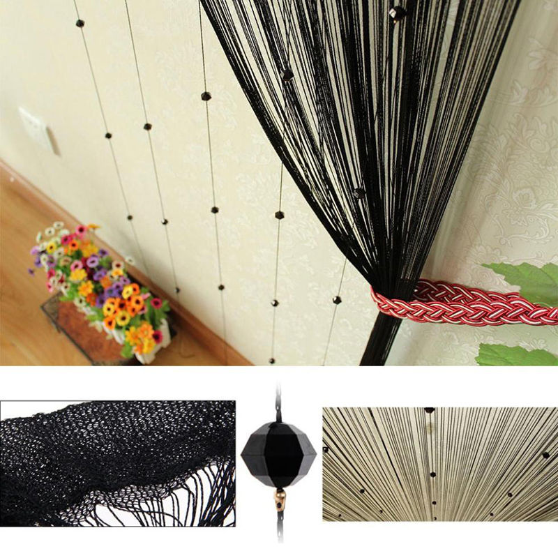 Romantic String Curtain With Beads Decor Tassels Fly Insect Clothes Screen  Divider Window Panel Room Divider