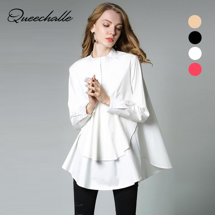 European Top design Big size Women's A line loose shirt 2019 Autumn asymmetrical Long sleeve Women Shirts Black White Red khaki