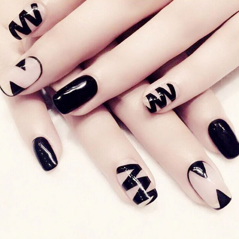 24 Pcs False Fingernails Faux Ongles Printed Acrylic Nail Tips Art Design Fake Nails With Glue Orders Are Welcome.