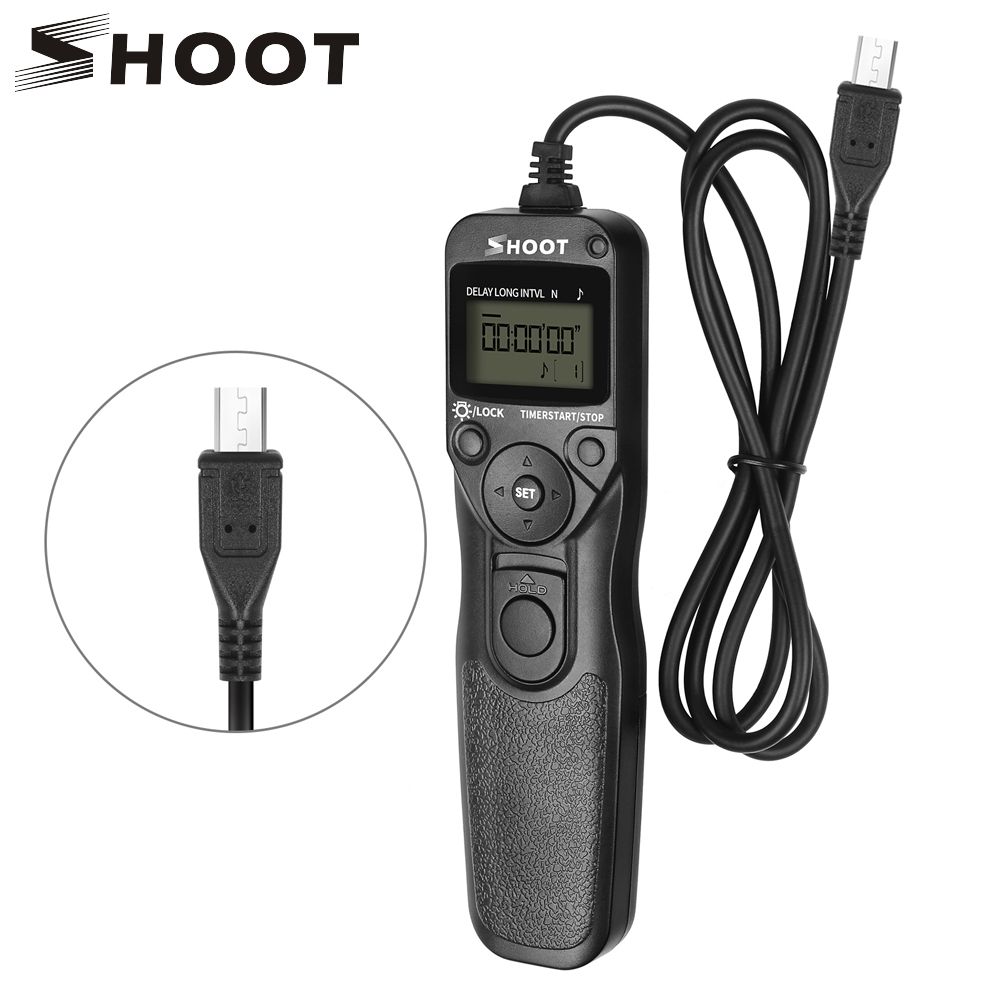 SHOOT RM-VPR1 LCD Timer Remote Control Shutter Release for Sony Alpha A6000 A7 A7II A7III A7R A58 A6500 A6300 A3000 A7RII A7 II wireless video timer remote control commander with multi terminal cable replace rm vpr1 for sony a7 ii iii a6500 a6300 rx100 m5
