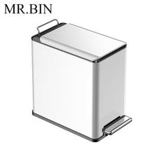 MR. BIN Edge 6L/9L скандинавский минимализм мусорный контейнер с педалью из нержавеющей стали и металла современный маленький мусорный бак для дома и офиса
