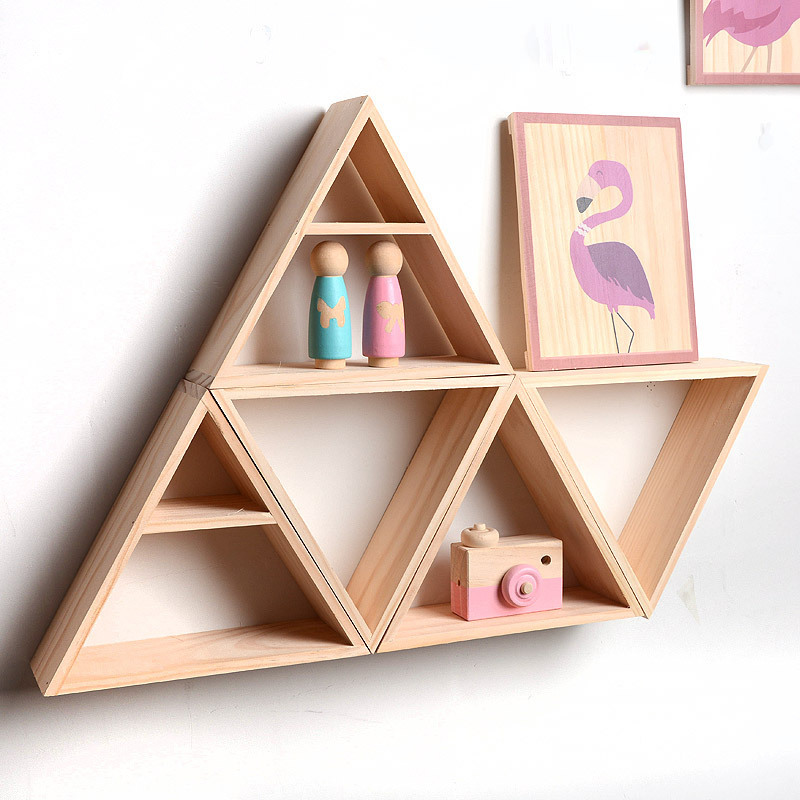 1pcs Triangle Wooden Floating Shelf Storage Display Book Shelf For Bedroom Living Room Kitchen Office Children House Decoration in Storage Holders Racks from Home Garden