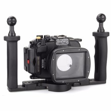 Meikon 40m/130ft Underwater Diving Waterproofu cases Camera Housing for Sony WX500+Meikon Two Hands Aluminium Tray Free Shipping