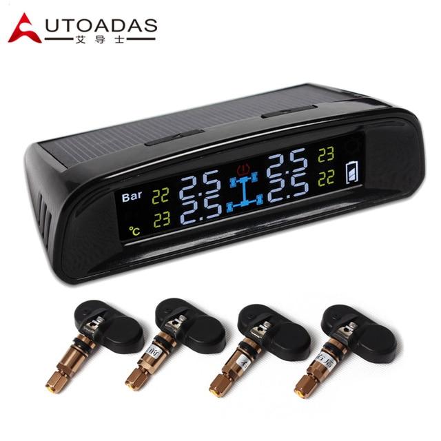 Автомобиль TPMS с 4 внутренних датчиков солнечных ЖК psi бар давления в шинах tpms инструменты автомобильная сигнализация Система Контроля Давления в Шинах