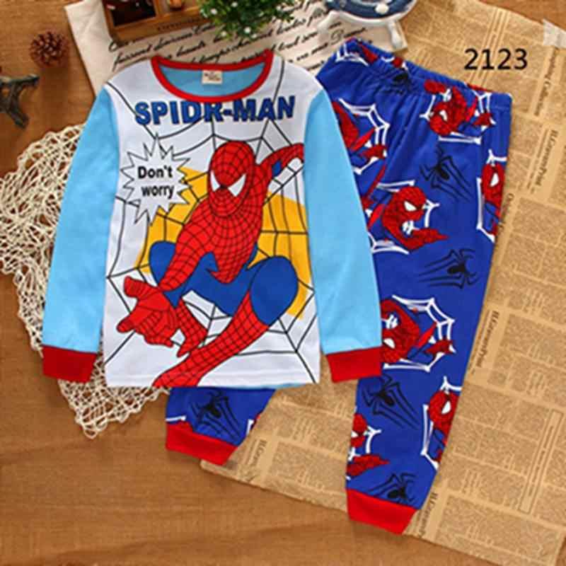 Hot Children Sleepwear Pajama Sets Cotton Long Boy Grey Cartoon Batman Casual Pyjama Child Clothes Set Kid Night Home Wear